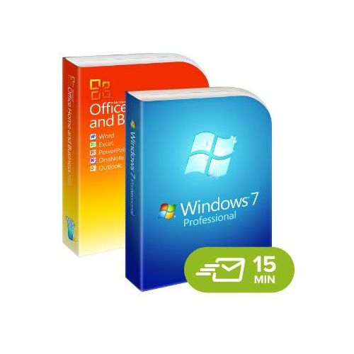 Windows 7 professional + office 2010 home and business, licencje elektroniczne 32/64 bit marki Microsoft