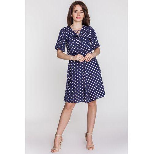 Granatowa sukienka w gorszki - Jelonek