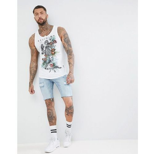 longline vest in white with curved hem and praying skeleton print - white, Religion