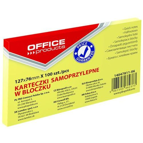 Bloczek samop., 127x76mm, 1x100 kart., pastel, jasnożółty