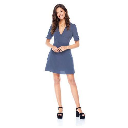 Sukienka Cannes granatowa w kropki, kolor niebieski