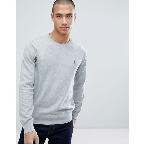 Polo ralph lauren slim fit pima cotton knit jumper player logo in grey marl - grey