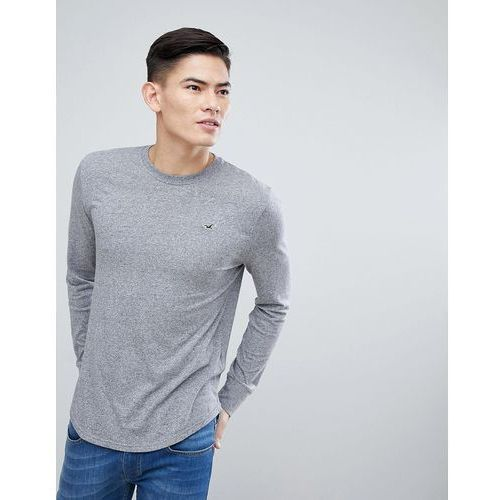 Hollister Long Sleeve Top Crew Neck Icon Logo Slim Fit in Grey - Grey, kolor szary
