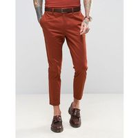 Devils Advocate Skinny Fit Rust Cotton Sateen Cropped Suit Trousers - Brown