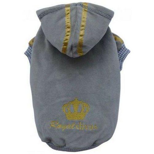 Doggy dolly bluza royal divas z kapturem, szara, xxl 36-38 cm/56-58 cm - darmowa dostawa od 95 zł!