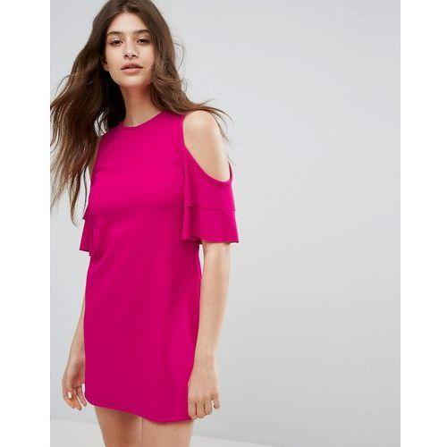 Bershka Cold Shoulder Shift Dress - Pink, kolor różowy