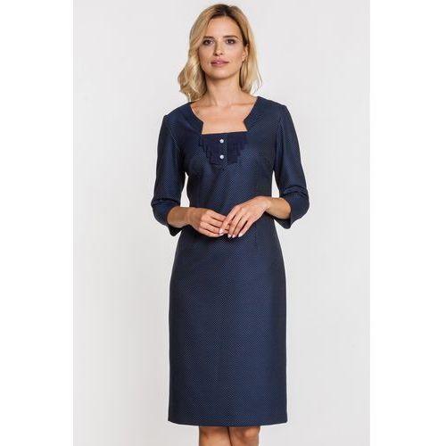 Granatowa sukienka w kropki z żabotem - GaPa Fashion, kolor niebieski