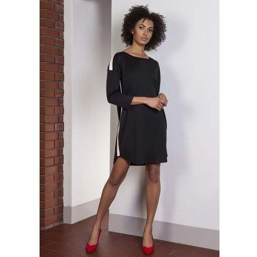 Czarna Luźna Sportowa Mini Sukienka z Lampasami, w 6 rozmiarach