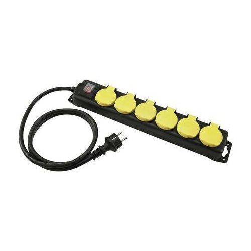 Eurolite Distributor 6-fold IP44 bk 5m - przedłużacz z listwą 6-gniazd IP44