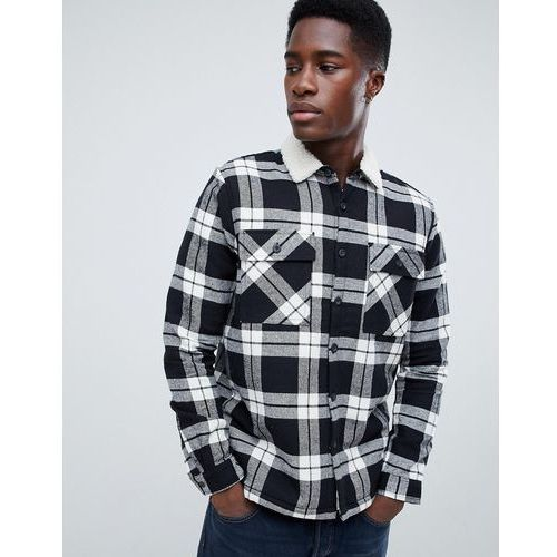 New look regular fit check shirt with borg lining in black - black