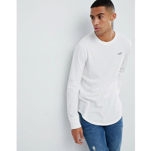 curved hem long sleeve t-shirt with seagull logo in white - white marki Hollister