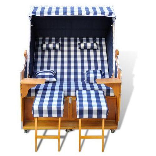 vidaXL Leżak plażowy, kosz niebiesko-biały, dla dwóch osób. (8718475851615)