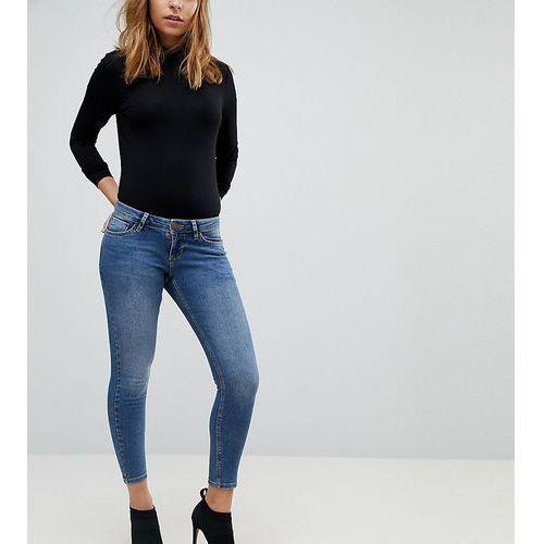 ASOS DESIGN Petite Whitby low rise skinny jeans in andie dark stone wash - Blue, kolor niebieski