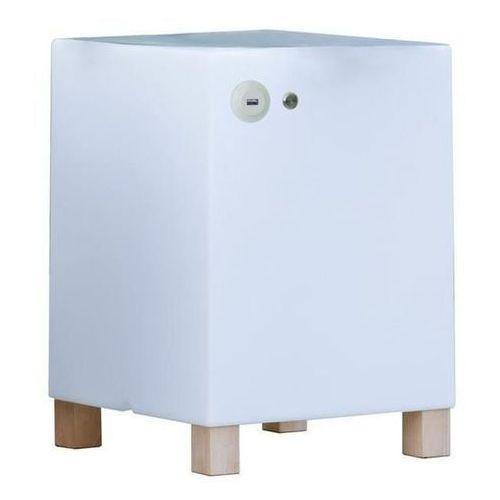 NEW GARDEN stolik BETTY USB biały - LED, wbudowana ładowarka (5900000046297)