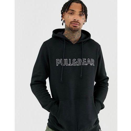 Pull&bear logo hoodie in black - black