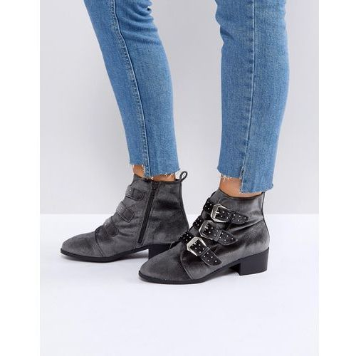 stud western velvet pointed ankle boot - grey marki New look