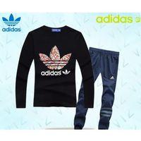 Adidas Dresy bluza czarna (czerwone/białe logo), spodnie granatowe/szare pf13554