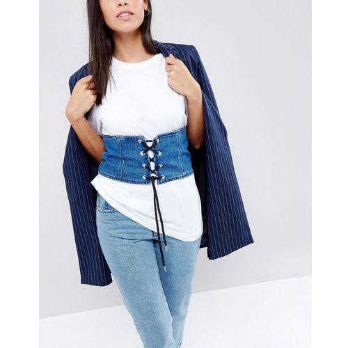 denim corset belt - blue, New look