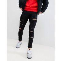 muscle fit jeans with all over rips in black - black marki Jaded london