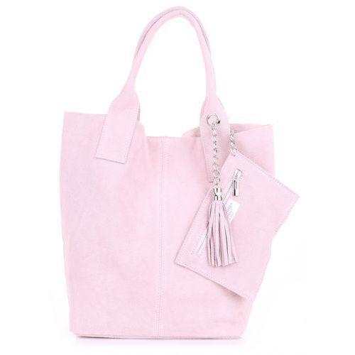f71f2af100854 Torebka skórzana Shopper bag zamsz natur... Producent Genuine Leather;  Rodzaj shopperka; Kolor różowy