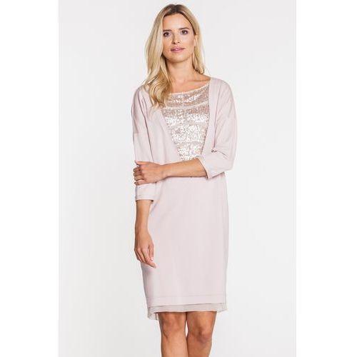 Sukienka z trójkątną wstawką cekinową - Anataka, kolor różowy