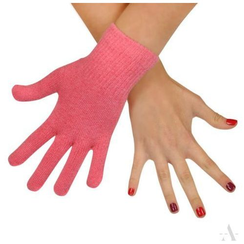 Evangarda Jednokolorowe elastyczne rękawiczki damskie pastelowy róż - różowy