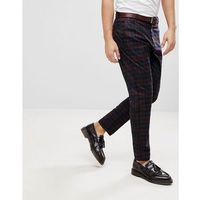 straight fit checked trousers - purple, Bershka