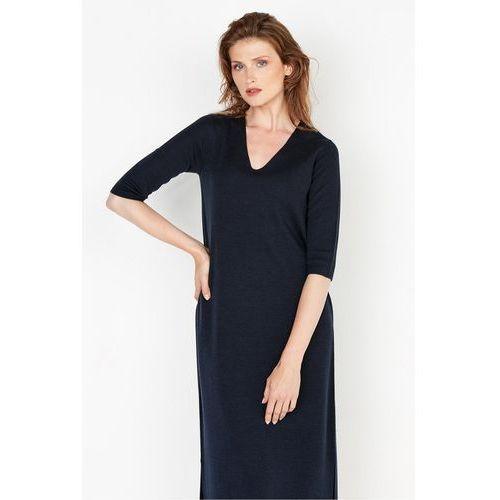 Granatowa sukienka z wełny - Patrizia Aryton, kolor niebieski