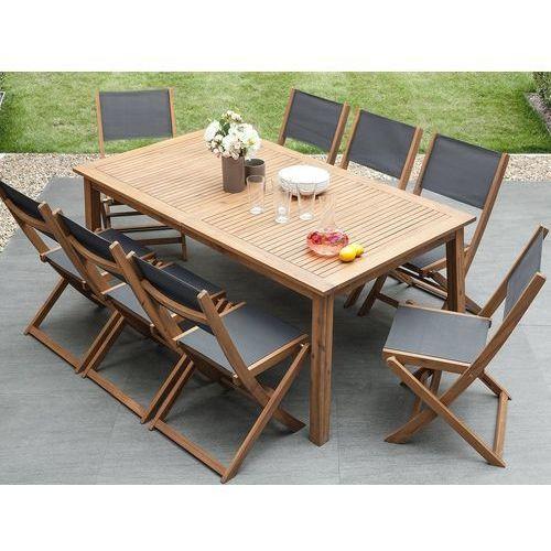 Zestaw ogrodowy drewniany 8-osobowy textilene ciemnoszary 2 leżaki CESANA (7105278305369)