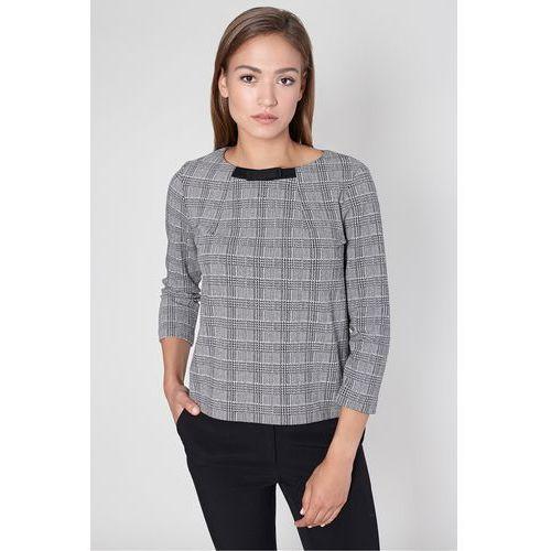 Elegancka bluzka w kratę w odcieniach szarości - Click Fashion