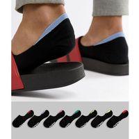 ASOS DESIGN Invisible Liner Socks With Contrast Back Tabs & Branded Soles 7 Pack - Black, kolor czarny