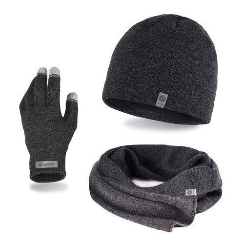 Komplet męski PaMaMi - czapka, szalik, rękawiczki - Ciemnoszara mulina (5902934061322)