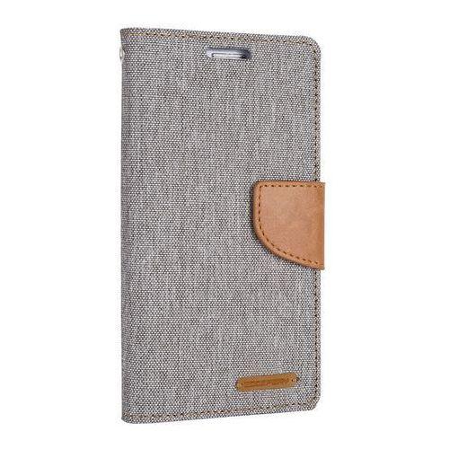 Mercury  canvas diary - etui iphone 7 plus z kieszeniami na karty + stand up (szary/camel) - szybka wysyłka - 100% zadowolenia. sprawdź już dziś!