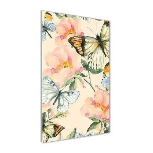 Foto obraz akrylowy do salonu Róże i motyle