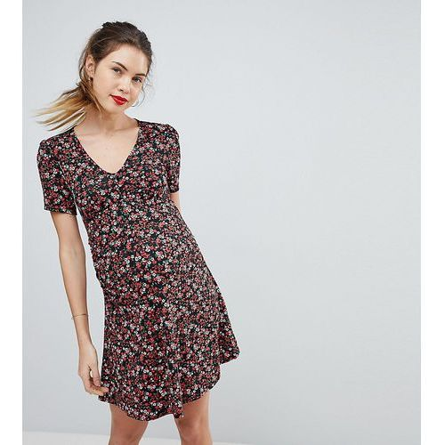 Asos maternity mini tea dress with v neck and button detail in mono floral print - multi