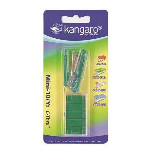 Zszywacz mini-10/y2 c-thru+zszywki, zszywa do 10 kartek, blister, zielony marki Kangaro