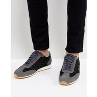 Boss suede colour block trainers in black - black