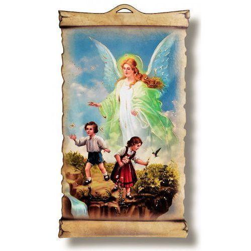 Produkt polski Anioł stróż – obrazek religijny na desce