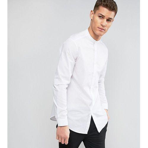 Asos  tall regular fit longline shirt with grandad collar in white - white