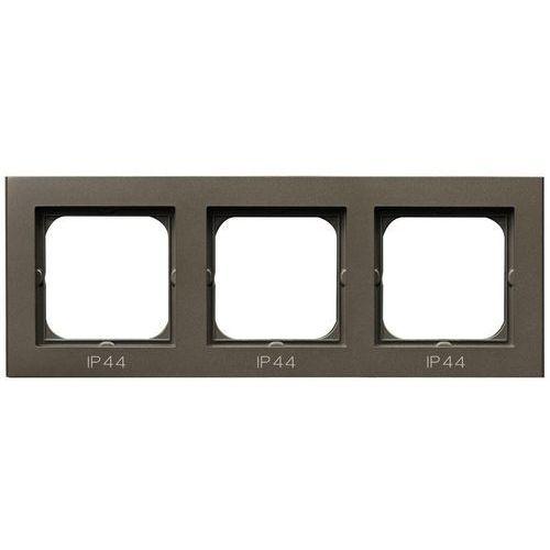 Ospel Ramka potrójna sonata rh-3r/40 do łączników ip44 czekoladowy metalik (5907577449087)