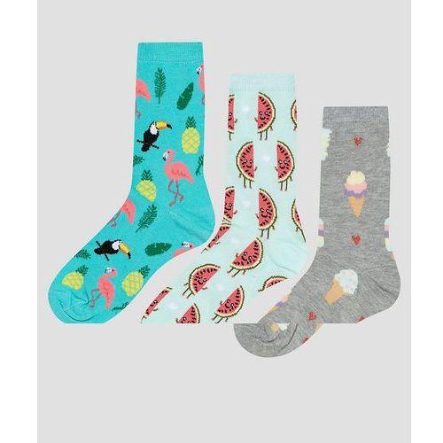 OKAZJA - New look 3 pack watermelon and ice cream ankle socks - green