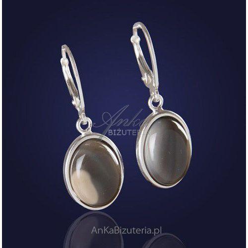 Postaw na klasykę - kolczyki srebrne z naturalnym kamieniem - krzemieniem pasiastym
