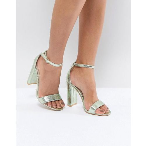 Glamorous Metallic Green Barely There Block Heeled Sandals - Blue