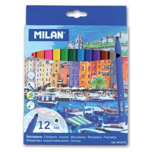 Milan Flamastry ze stożkową końcówką 12 kolorów