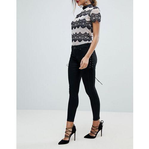 Morgan Skinny Jean With Lace Up Side Detail - Black, kolor czarny