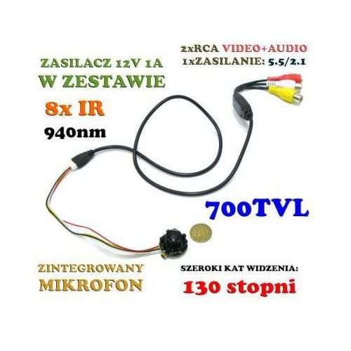 Mikro-kamera przewodowa szerokokątna (aż 130°!!) dzienno-nocna (8 ir), kolorowa z fonią + zasilacz marki Jmk