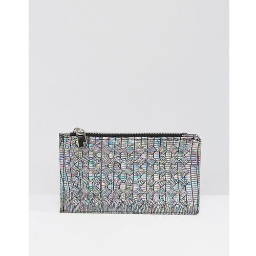 French connection irridescent weave zip purse - black