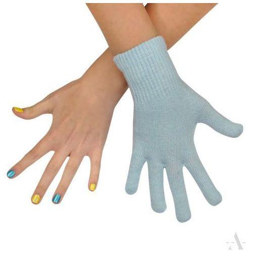 Evangarda Bladoniebieskie gładkie rękawiczki damskie elastyczne - niebieski
