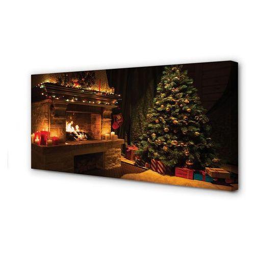 Obrazy na płótnie Choinka kominek dekoracje prezenty