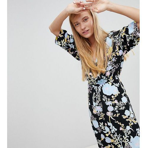Monki Dark Floral Long Sleeve Wrap Dress - Multi, w 5 rozmiarach